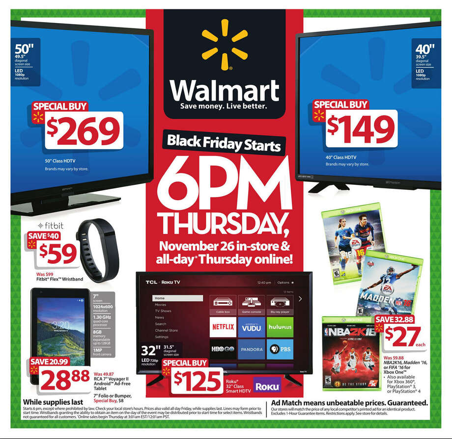 Walmart Black Friday 2015 newspaper circular (click expand button below for larger image).