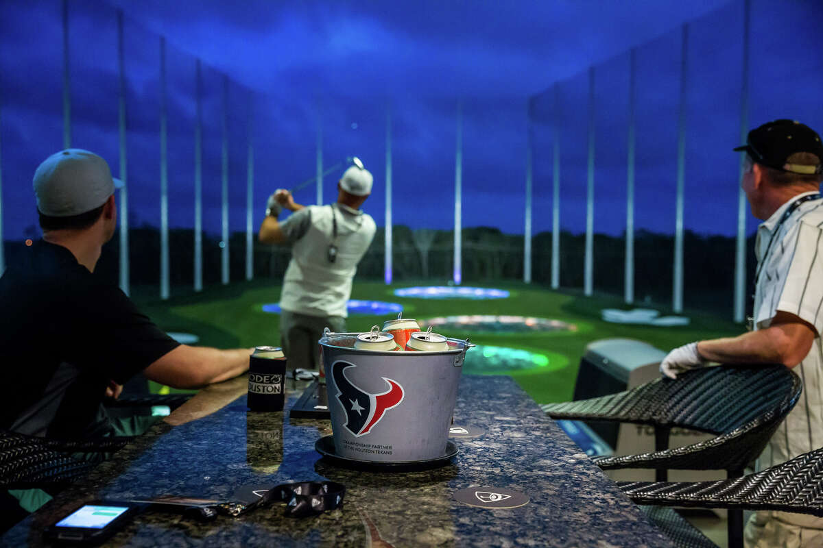 TOPGOLF The heart of these over-sized sports bars are a three-level driving range. Micro-chipped balls and high-tech targets combine for competitive games. The venues all have full bars and from-scratch kitchens. Houston: 1030 Memorial Brook, 281-406-3176 Spring: 560 Spring Park Center, 832-200-0106 Webster: 21401 I-45, 281-657-1300