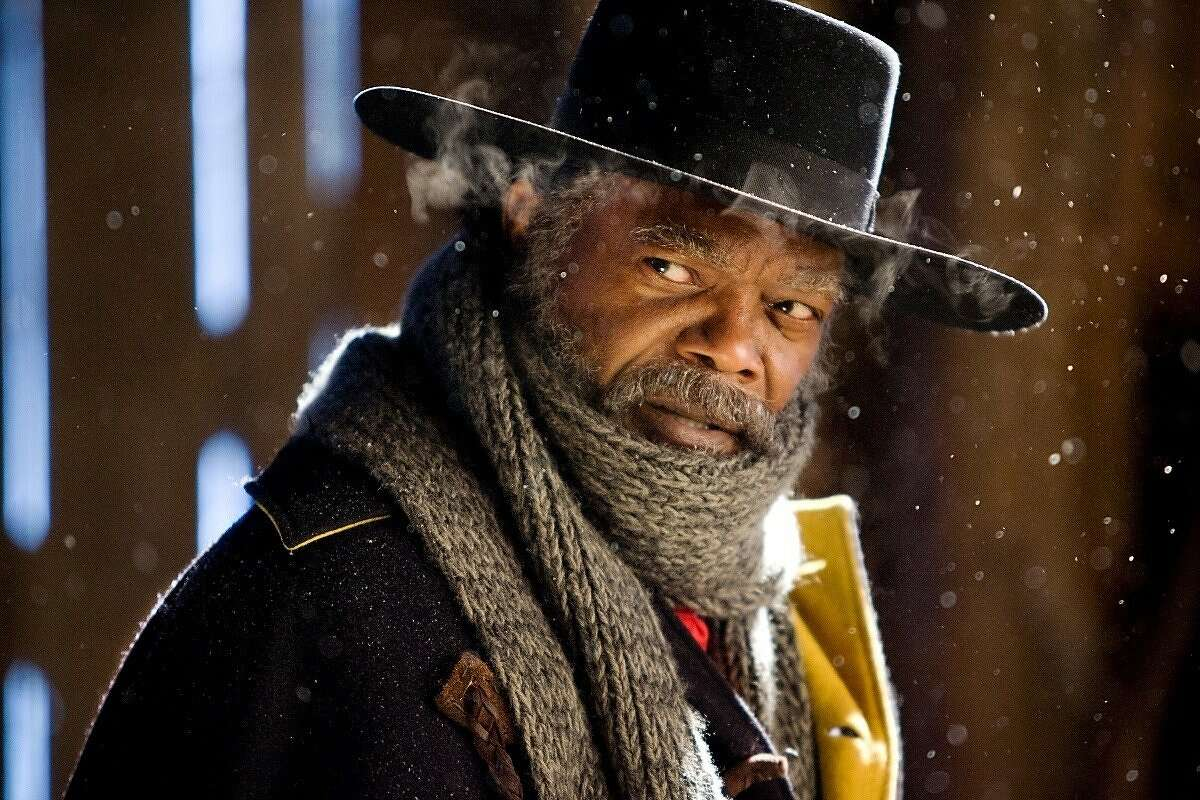 """Samuel L. Jackson in """"The Hateful 8,"""" a holiday movie for 2015."""
