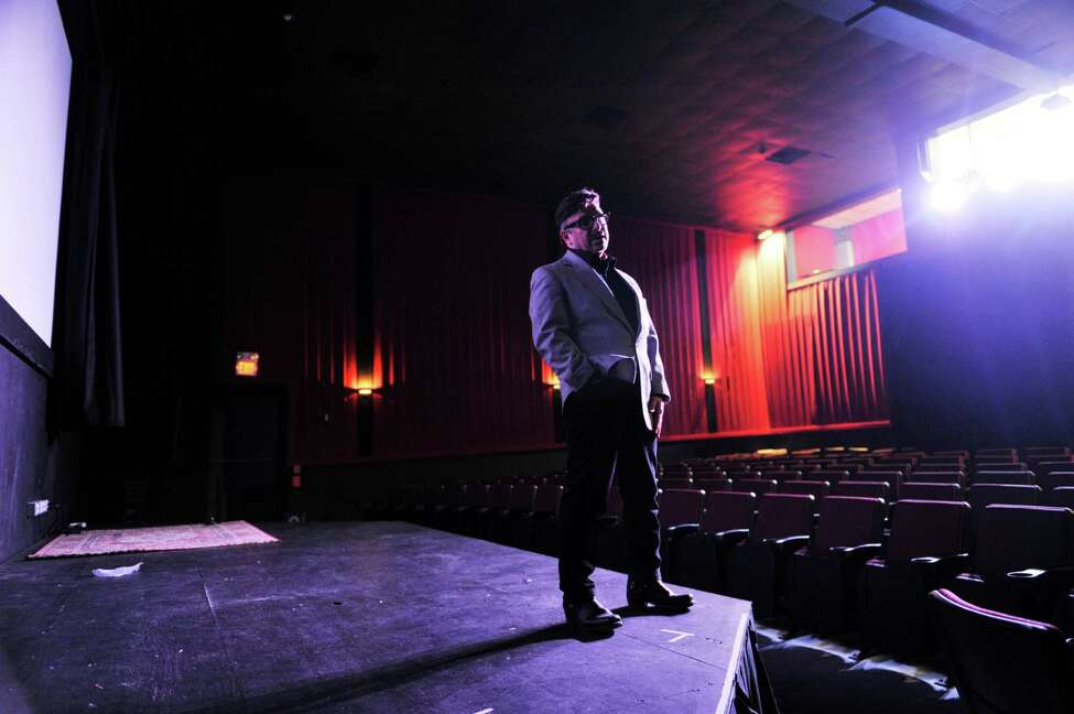 Michael Butler on stage at the Madison Theater where his play will be performed, seen here on Wednesday, Nov. 4, 2015, in Albany, N.Y. (Paul Buckowski / Times Union)