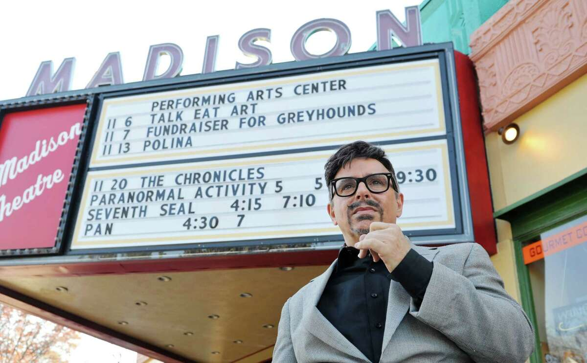 Michael Butler, who runs the Pine Hills Film Colony, outside the Madison Theater in Albany, N.Y. (Paul Buckowski / Times Union)