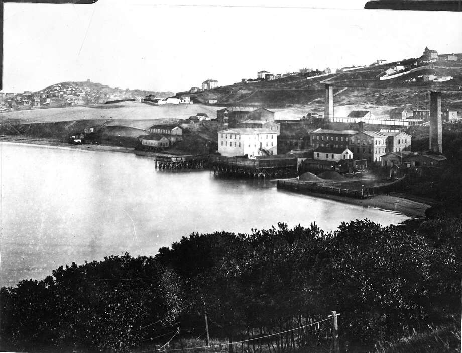 This photo taken in 1867  shows the Pioneer Woolen Mills  and cove from Fort Mason.