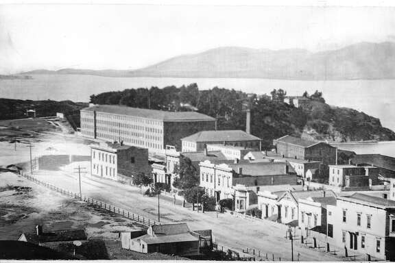 This photo taken in 1880 shows Bay Street between Hyde and Larkin In the center foreground is the Montgomery House. The large building in the background is the Pioneer Woolen Mills and the arm of the bay is the West end of Aquatic Park. Photo ran 3/29/1948, p. 8   Handout