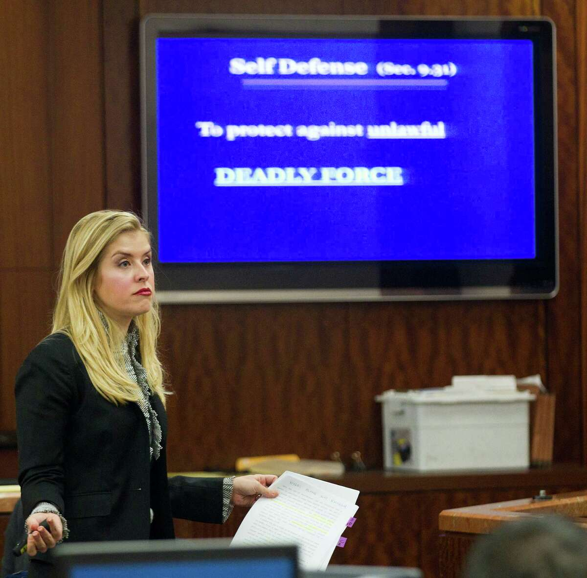 Prosecutor Sarah Mickelson gives her closing argument in the trail against Ana Lilia Trujillo Tuesday, April 8, 2014, in Houston. Trujillo, 45, is charged with murder, accused of killing her 59-year-old boyfriend, Alf Stefan Andersson with the heel of a stiletto shoe, at his Museum District high-rise condominium in June 2013. ( Brett Coomer / Houston Chronicle )