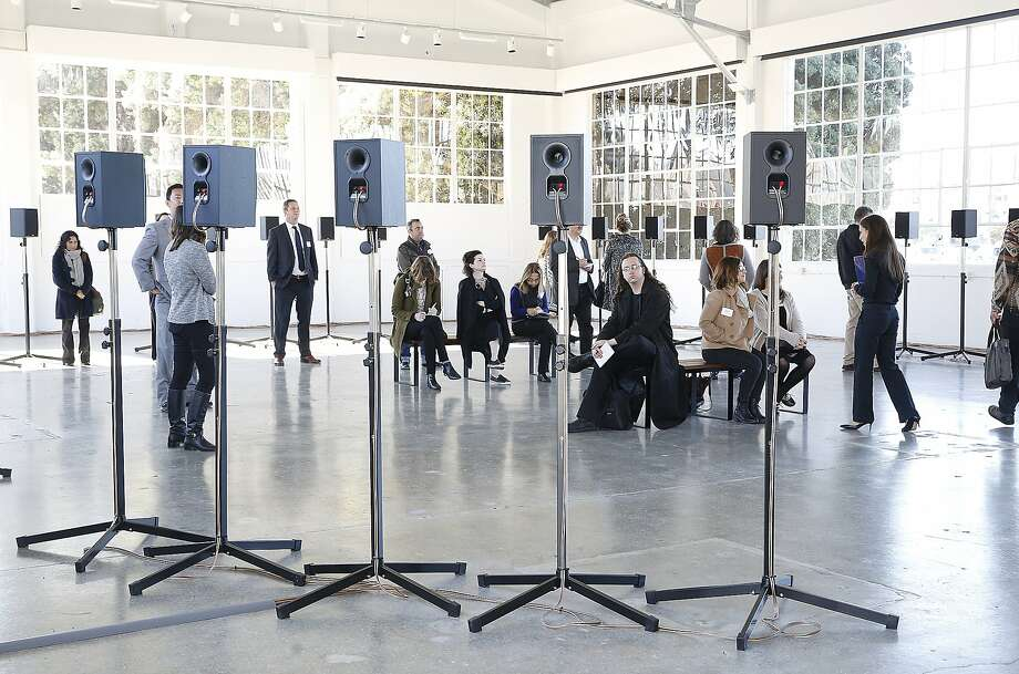"Sound artist Janet Cardiff shows her installation ""Forty-Part Motet"", using speakers to resonate a forty part choral piece by composer Thomas Tallis at Fort Mason in San Francisco, California, on Thursday, November 12, 2015. Photo: Liz Hafalia, The Chronicle"