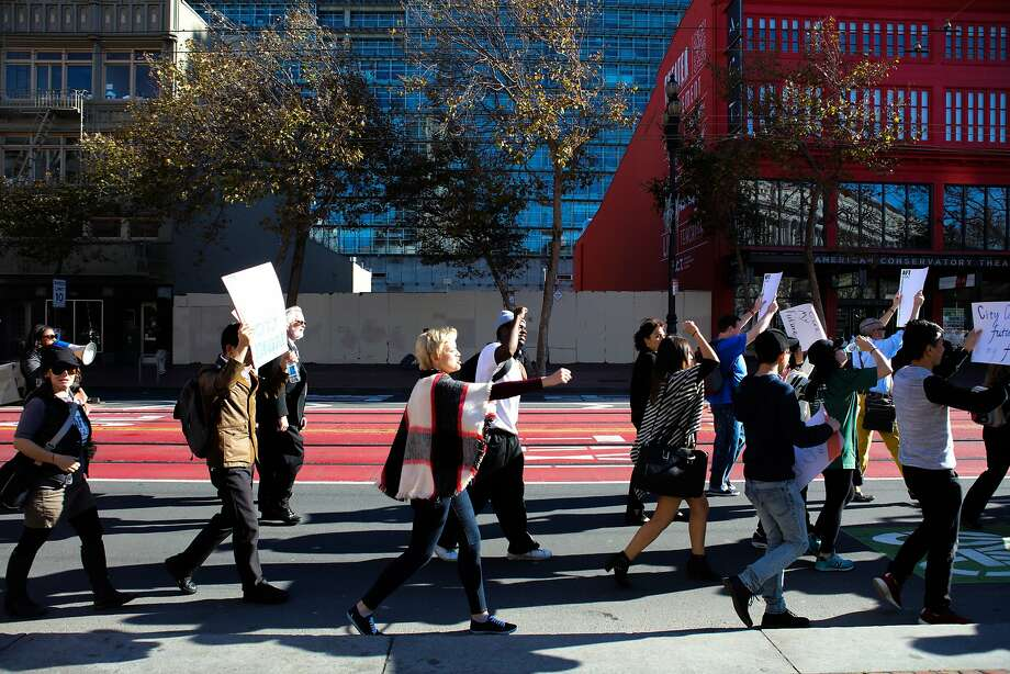 CCSF students and educators march down Market Street during a protest in San Francisco, California on Thursday, November 12, 2015. Photo: Gabrielle Lurie, Special To The Chronicle