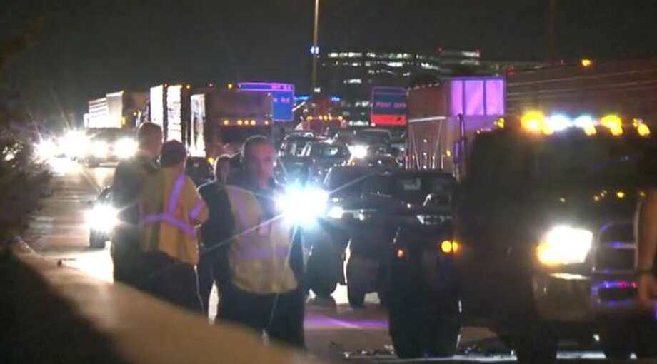 A four-car, chain-reaction crash shut down the northbound West Loop at Memorial Drive early Friday. The series of accidents started when a Nissan rear-ended another car, about 2:30 a.m. Nov. 13, 2015. Photo: Christian, Carol, Via Metro Video