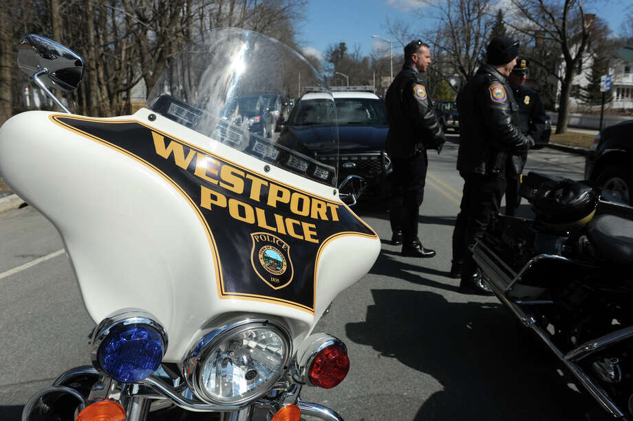 """Motorcycles from the Westport Police Department were part the escort at the funeral service for Marine Lance Cpl. Roger """"RJ"""" Muchnick, held at St. Ann's Church, in Lenox, Mass., March 29, 2013. Muchnick was one of seven Marines killed by an explosion during a training exercise in Nevada on March 18th. He attended Staples High School, in Westport, Conn. Photo: Ned Gerard / Ned Gerard / Connecticut Post"""