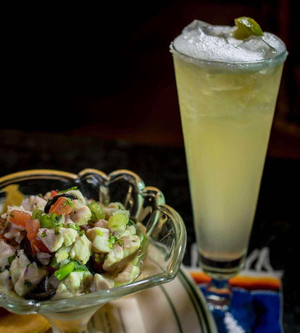 """The Ceviche with the """"House Margarita"""" at the Cadillac Bar & Grill in San Francisco, Calif. is seen on Thursday, November 12th, 2015."""