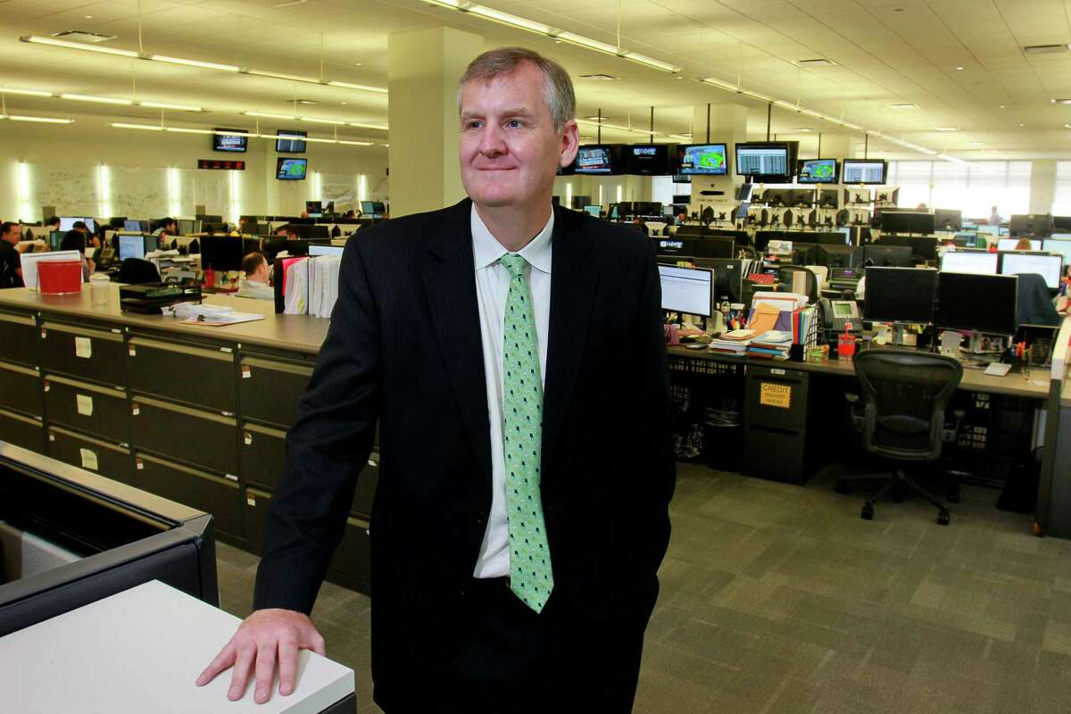 Calpine CEO Thad Hill visits the generating company's trading floor in Houston (Chronicle photo)