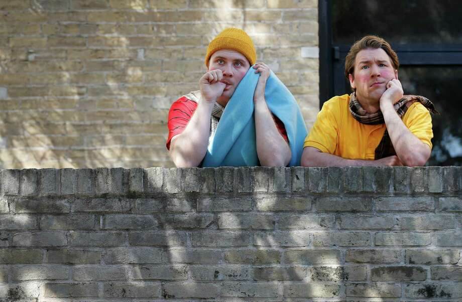 "Sean Koch (left), who portrays Linus, and Sam Weeks,  who plays Charlie Brown, star the Magik Theater's production of ""A Charlie Brown Christmas"" which opens Friday. The show is directed by Dylan Collins. (Kin Man Hui/San Antonio Express-News) Photo: Kin Man Hui,  Staff / San Antonio Express-News / ©2015 San Antonio Express-News"