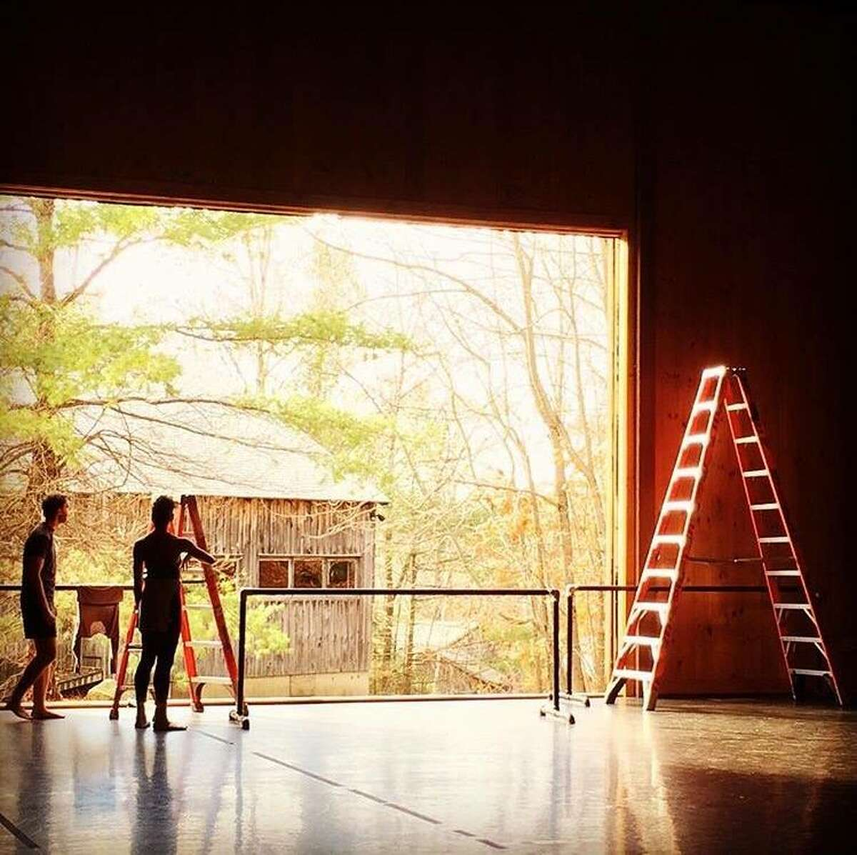 A dance troupe works in the Doris Duke Theatre during a 2015 residency at Jacob's Pillow. (Photo courtesy of @danceheginbotham)