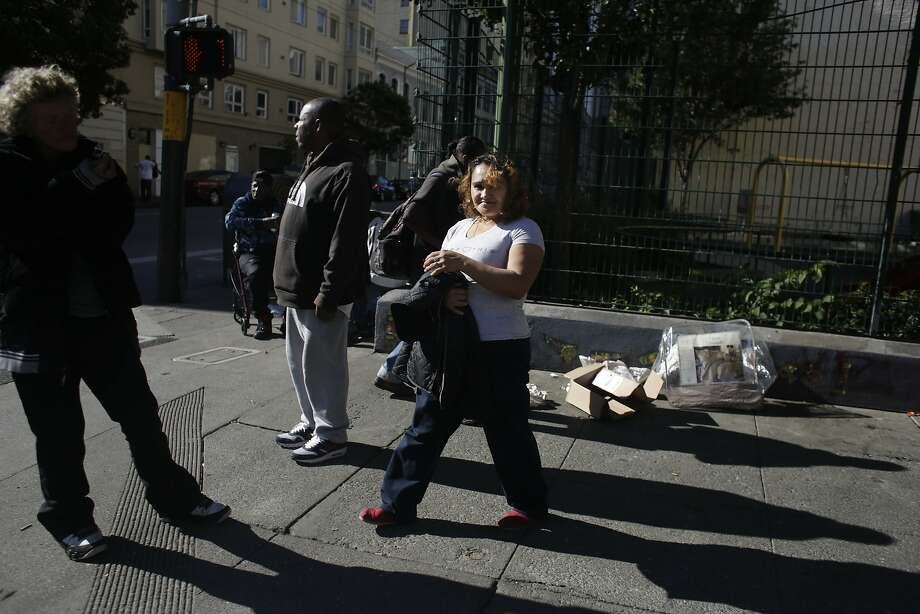 Evelia Valencia walks down Hyde Street on her way home after a visit to the First Avenues  office on Friday, November 13,  2015 in San Francisco, Calif. Photo: Lea Suzuki, The Chronicle