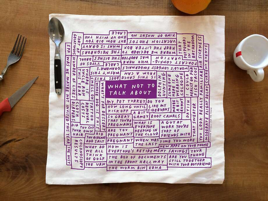 These holiday napkins by Tucker Nichols are available at The Thing's Tenderloin store in S.F. Photo: The Thing