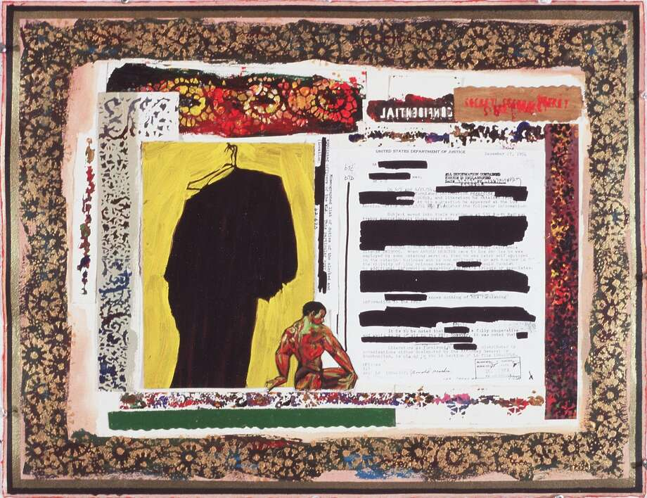 """Arnold Mesches, """"The FBI Files 5,"""" 2001. Mixed media collage on paper, 20 1/8 x 26 in. Photo: Arnold Mesches, Life On Mars Gallery, Brooklyn"""