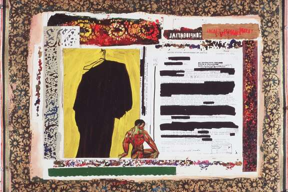 "Arnold Mesches, ""The FBI Files 5,"" 2001. Mixed media collage on paper, 20 1/8 x 26 in."