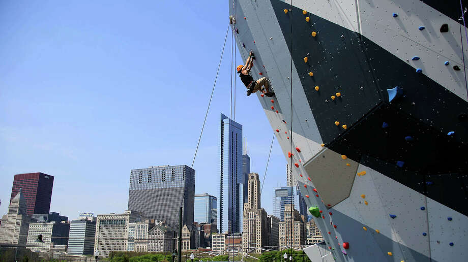 An adventurer scales one of the two rock-climbing walls in downtown Chicago's Maggie Daley Park.  An adventurer scales one of the two rock-climbing walls in downtown Chicago's Maggie Daley Park. Photo: Chicago Park District / Chicago Park District