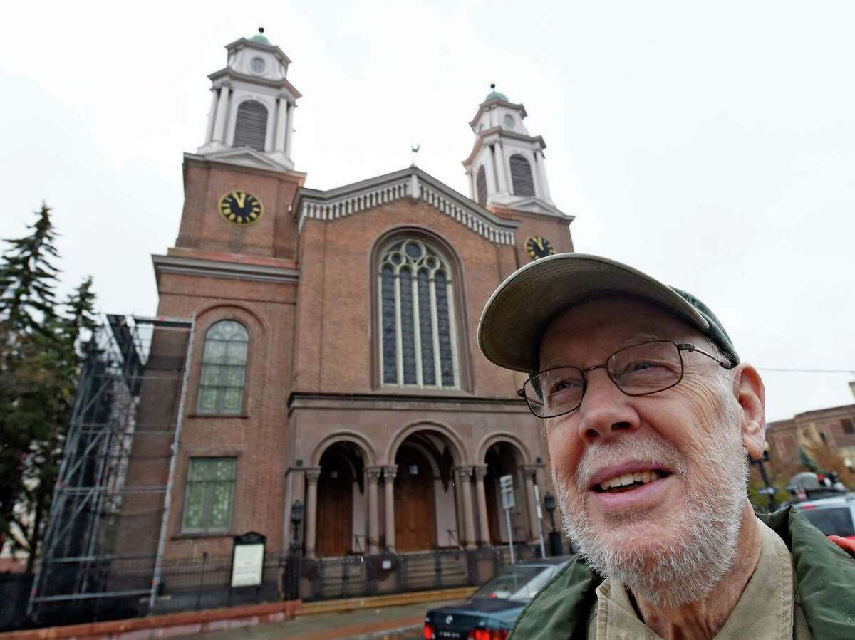 Ian Leet, who served on the congregations committee for the renovation stands in front of the First Church Wednesday morning Nov. 11, 2015 in Albany, N.Y. (Skip Dickstein/Times Union)