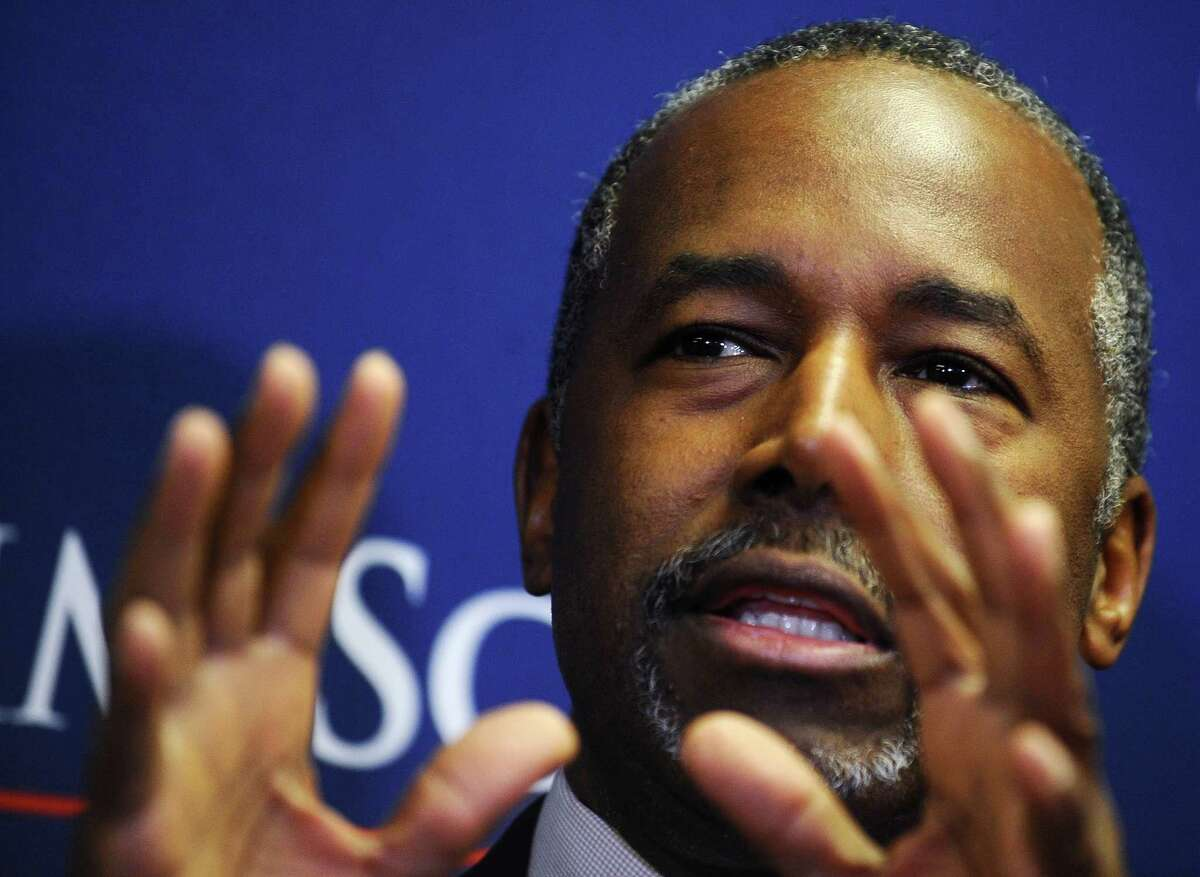 Republican Presidential candidate, Dr. Ben Carson speaks to the media before a town hall event at Bob Jones University, Friday, Nov. 13, 2015, in Greenville, S.C. (AP Photo/Rainier Ehrhardt)