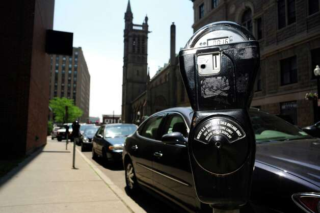 A view of individual parking meters along Lodge St. seen here on Tuesday, June 3, 2014, in Albany, N.Y.   (Paul Buckowski / Times Union archive) Photo: Paul Buckowski / 00027177A