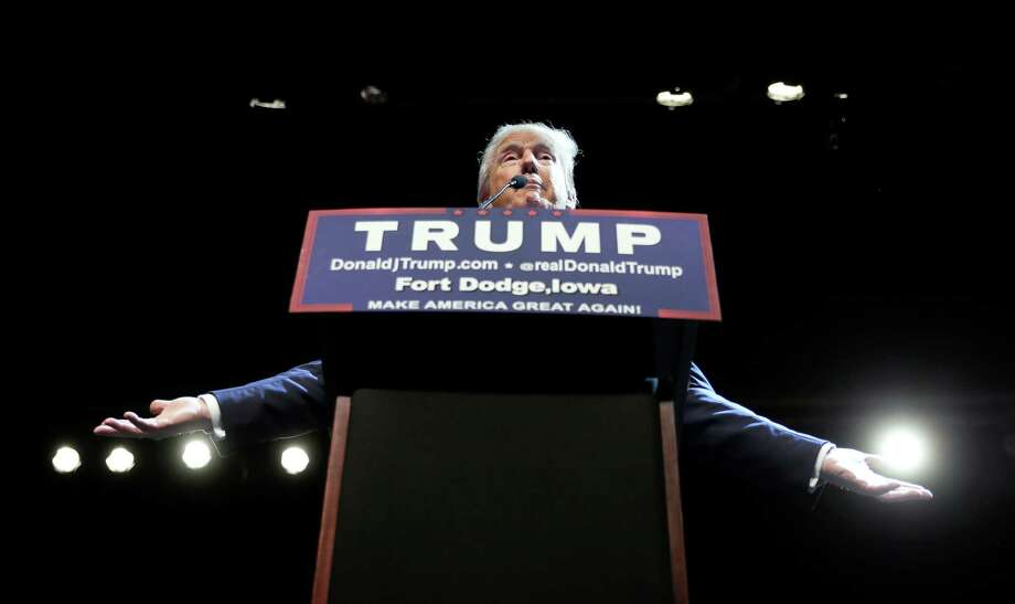 Republican presidential candidate Donald Trump speaks during a rally at Iowa Central Community College, Thursday, Nov. 12, 2015, in Fort Dodge, Iowa. (AP Photo/Charlie Neibergall) Photo: Charlie Neibergall, STF / Associated Press / AP