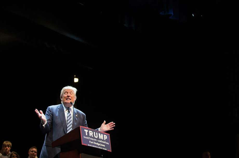 FORT DODGE, IA - NOVEMBER 12:  Republican presidential candidate Donald Trump speaks to guests during a campaign stop at Iowa Central Community College on November 12, 2015 in Fort Dodge, Iowa. The stop comes on the heals of Tuesday's eight-candidate Republican debate in Milwaukee where a national poll of viewers declared Trump the winner.  (Photo by Scott Olson/Getty Images) Photo: Scott Olson, Staff / Getty Images / 2015 Getty Images