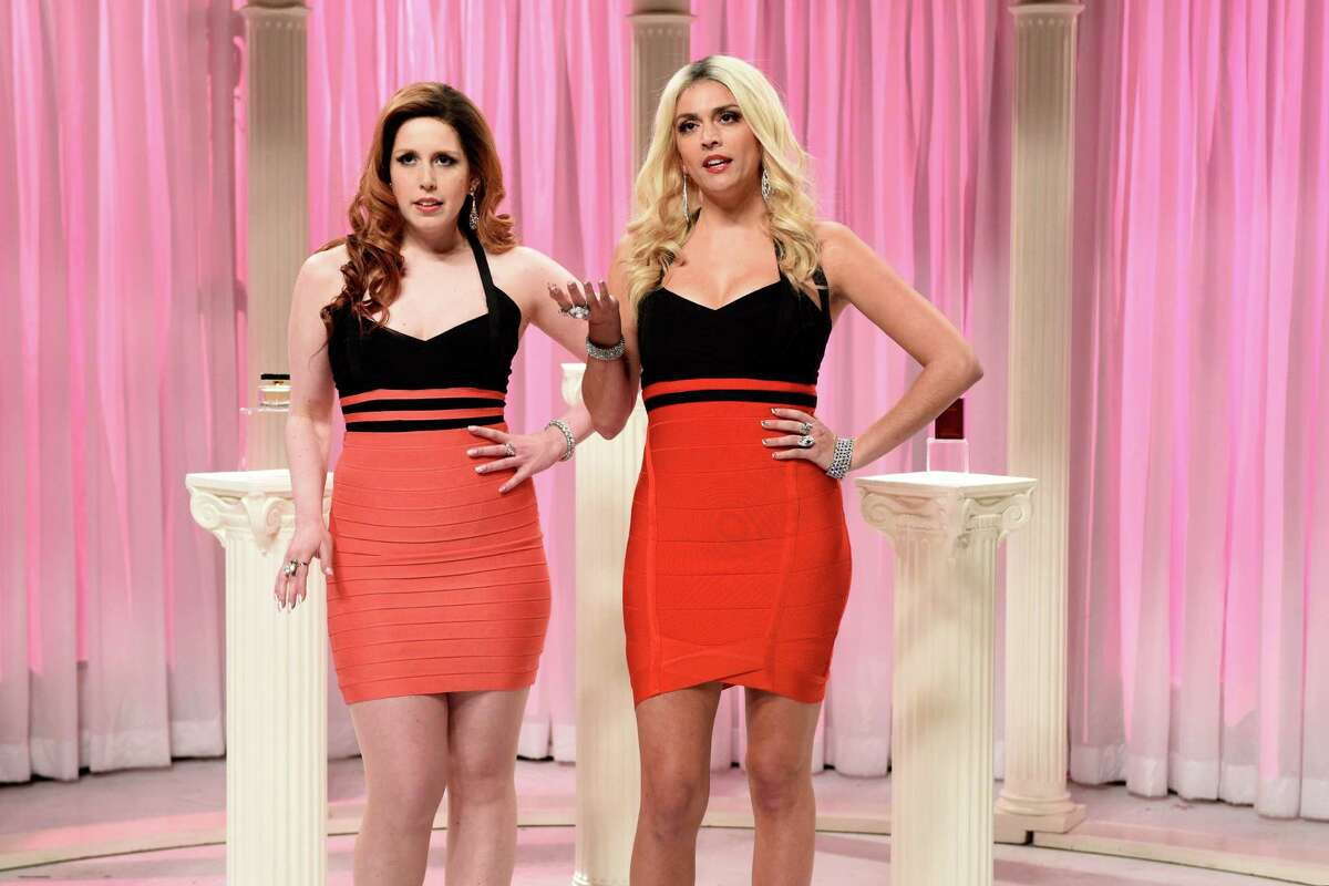 Cecily Strong, right, and Vanessa Bayer perform one of their popular skits, Former Porn Stars, on ?