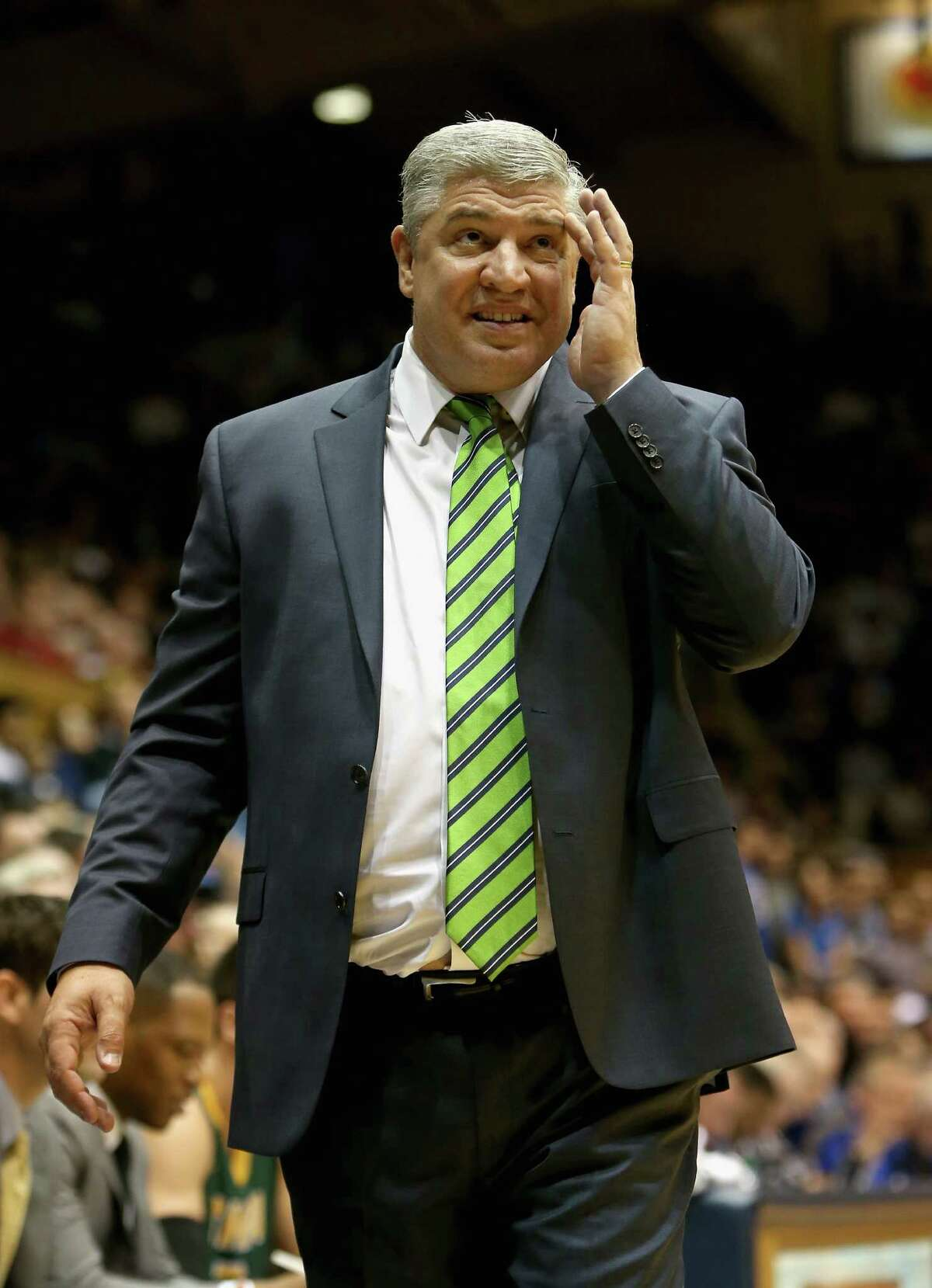 DURHAM, NC - NOVEMBER 13: Head coach Jimmy Patsos of the Siena Saints watches on during their game against the Duke Blue Devils at Cameron Indoor Stadium on November 13, 2015 in Durham, North Carolina. (Photo by Streeter Lecka/Getty Images) ORG XMIT: 587451721