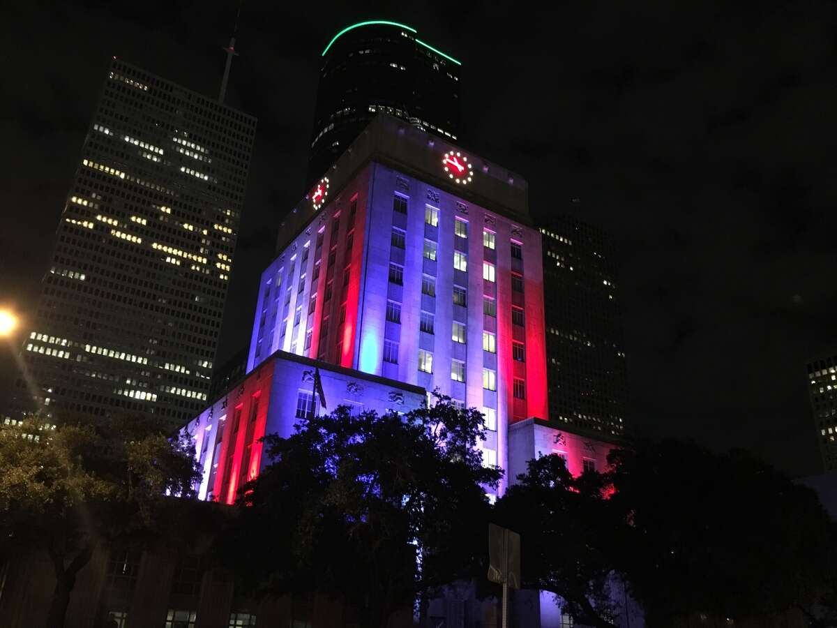 Houston's City Hall was lit up in the colors of the French flag on Friday night. Cities across the nation showed support for the French capital after horrific attacks left more than 100 people dead.