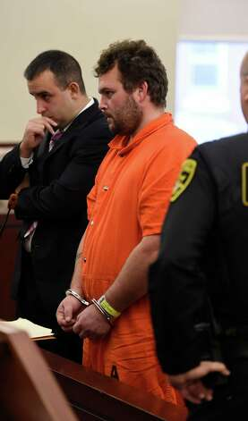 Alleged wheelman in the Salon murder in Colonie, Sean Moreland stands at the bar and refuses his plea deal in Albany County Court Friday morning Nov. 13, 2015 in Albany, N.Y.  (Skip Dickstein/Times Union) Photo: SKIP DICKSTEIN