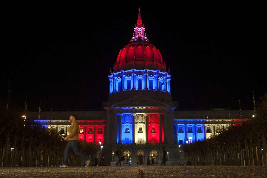On Friday, Nov. 13, 2015 San Francisco City Hall displayed the French flag on the building to pay respects to Paris and those affected by the Paris terrorist attacks. Photo: Santiago Mejia, Special To The Chronicle