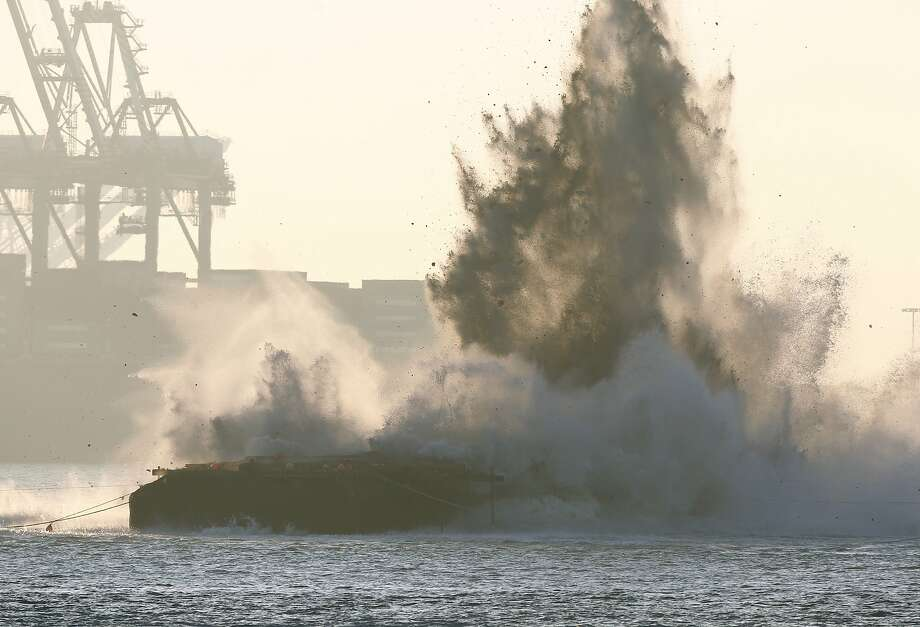Pier E3 of the old Bay Bridge is imploded below the surface of the bay in San Francisco, Calif. on Saturday, Nov. 14, 2015. Photo: Paul Chinn, The Chronicle