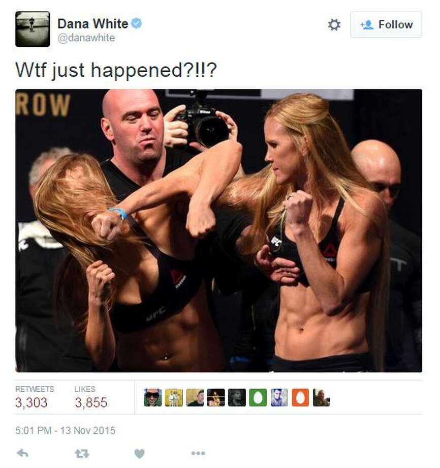 Dana White posted this tweet following the Ronda Rousey-Holly Holm weigh-in Friday night. Photo: White, Tyler L, Getty Images