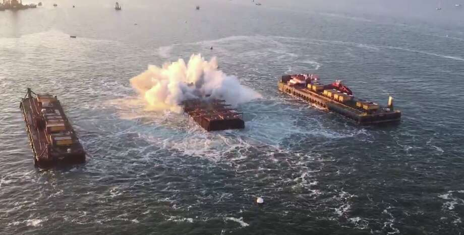 Pier E3 of the old Bay Bridge is imploded below the surface of the bay in San Francisco, Calif. on Saturday, Nov. 14, 2015. Photo: California State Transportation Agency