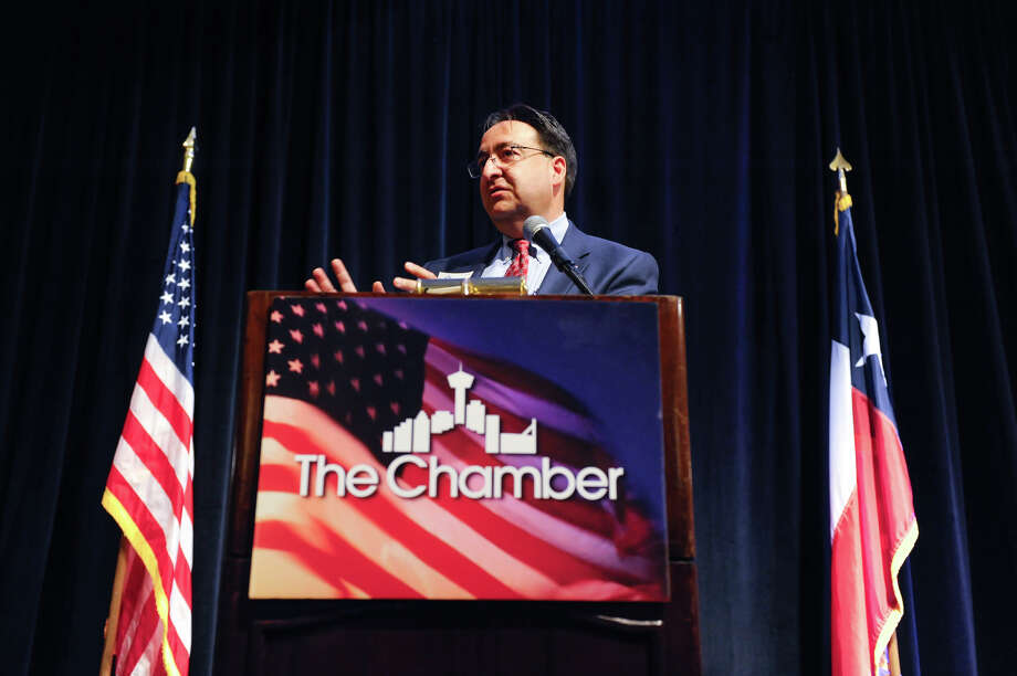 U.S. Rep. Pete Gallego, D-Alpine, whose 23rd congressional district covers from El Paso to San Antonio including several border counties, gives an update on the political climate in Washington to the Greater San Antonio Chamber of Commerce. Photo: Robin Jerstad, Freelance