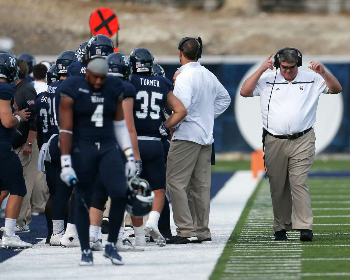 Rice Owls head coach David Bailiff on the sideline during the first half of a college football game at Rice Stadium on Saturday, Nov. 14, 2015, in Houston.