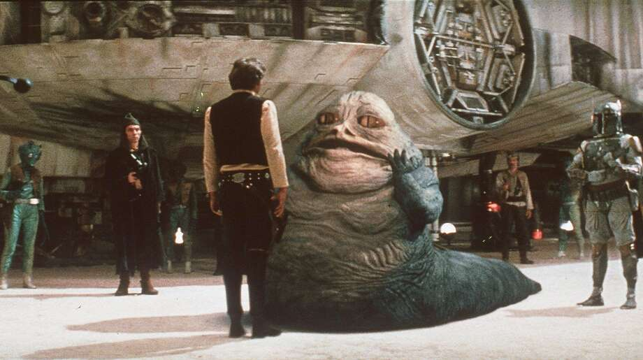 Han Solo, played by Harrison Ford, bargains with space gangster Jabba the Hutt. Photo: Associated Press