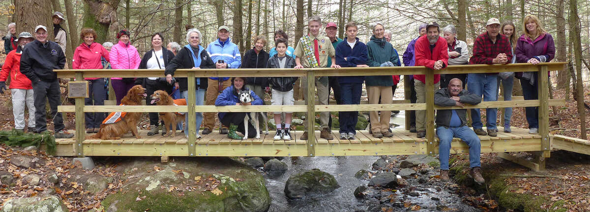 Michael Beskid and his fellow boy scouts from troop 525 built this bridge as part of Michael's Eagle Scout Project. The bridge spans the Black Brook at Rensselaer Land Trust's Robert P. Ingalls Nature Preserve in Stephentown. (Allan Stern)