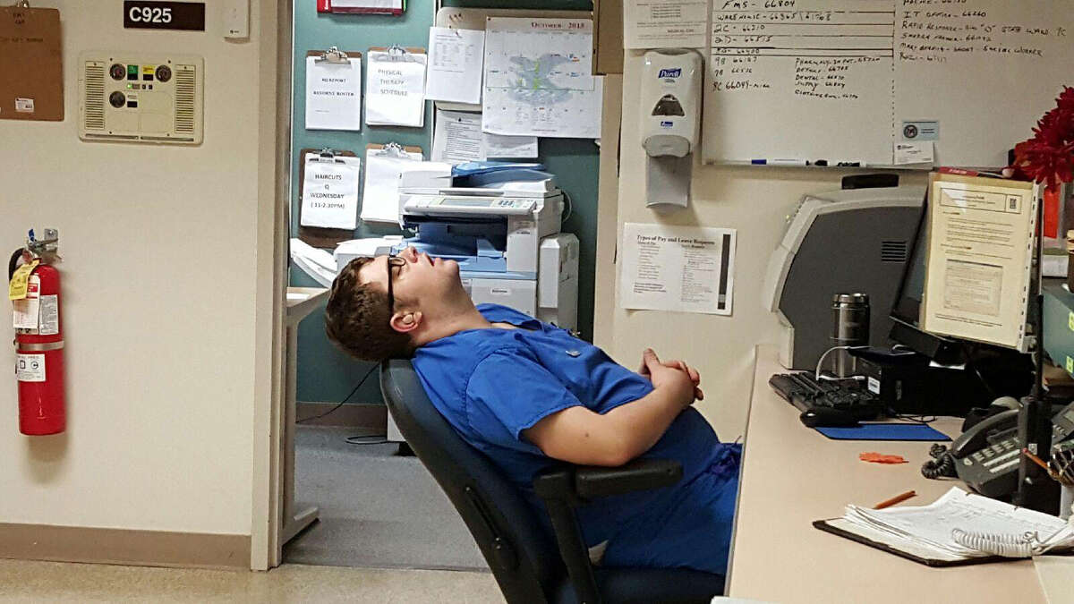 Nurses at Stratton VA Hospital said they contacted a supervisor on Oct. 27 after they reported being unable to wake Keil McCarran, seen here allegedly sleeping on duty at a nurse's station. It was at least the second time he was the subject of complaints for sleeping at work.
