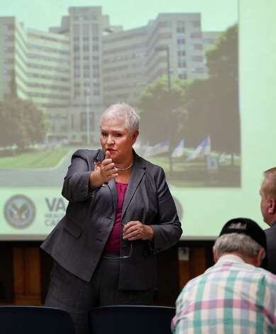 Stratton VA Medical Center director Linda Weiss fields question about the health care facility during a town hall meeting Wednesday morning, Sept. 10, 2014 in Albany, N.Y.    (Skip Dickstein/Times Union) Photo: SKIP DICKSTEIN / 00028491A