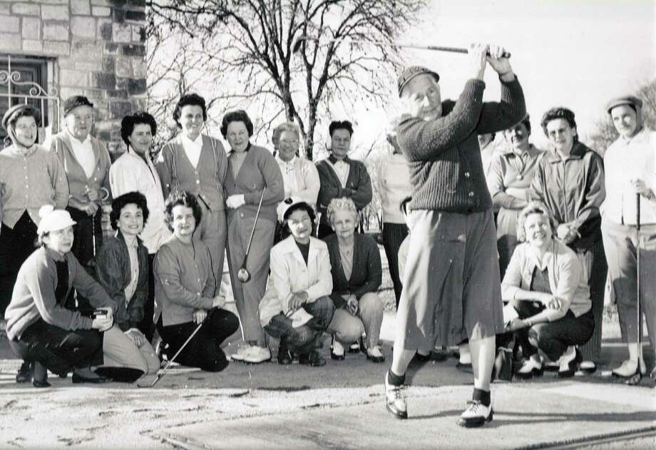 A member of the Brackenridge Women's Golf Association, circa 1940, tees off at Brackenridge Park Golf Course's first hole. Photo: Courtesy Photo /Alamo City Golf Trail