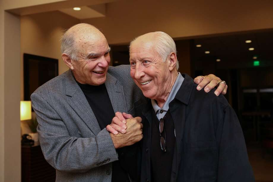 Former Raiders quarterback, Daryle Lamonica (left) and former teammate Fred Biletnikoff (right) share a laugh at a fundraiser for the Biletnikoff Foundation at the Marriott Hotel in San Ramon, California on Friday, November 13, 2015. Photo: Gabrielle Lurie, Special To The Chronicle