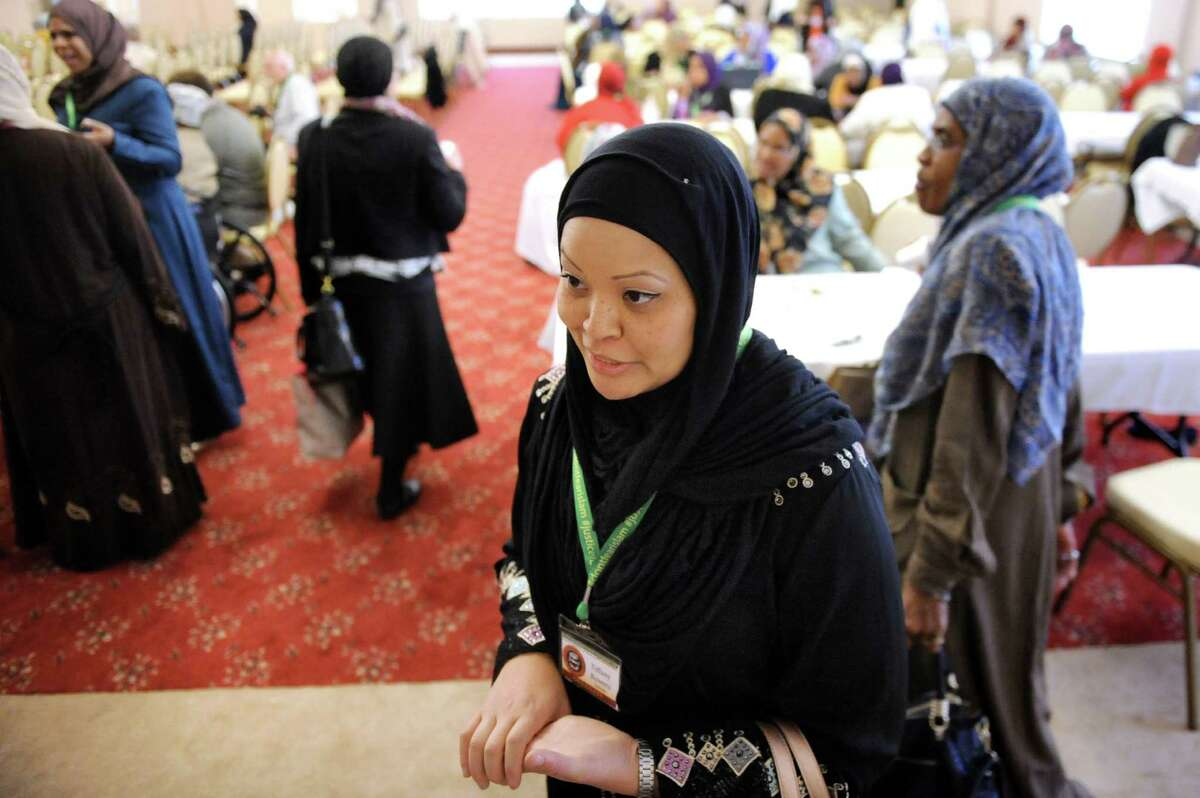 Tiffany Bowers of Wilmington, N.C. talks about the recent events in Paris during the Inaugural International Islamophobia Conference on Saturday, Nov. 14, 2015, at the Muslim Community Center of the Capital District in Colonie, N.Y. (Cindy Schultz / Times Union)