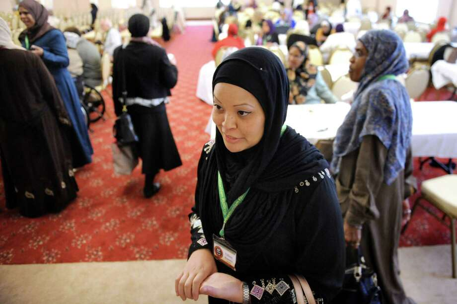 Tiffany Bowers of Wilmington, N.C. talks about the recent events in Paris during the Inaugural International Islamophobia Conference on Saturday, Nov. 14, 2015, at the Muslim Community Center of the Capital District in Colonie, N.Y. (Cindy Schultz / Times Union) Photo: Cindy Schultz / 00034259A