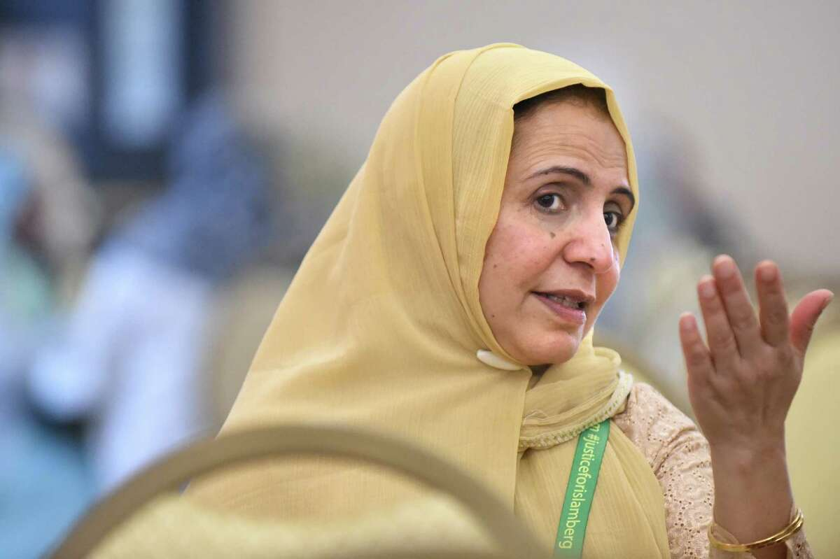 Nargis Mainhas of Niskayuna talks about the recent events in Paris during the Inaugural International Islamophobia Conference on Saturday, Nov. 14, 2015, at the Muslim Community Center of the Capital District in Colonie, N.Y. (Cindy Schultz / Times Union)