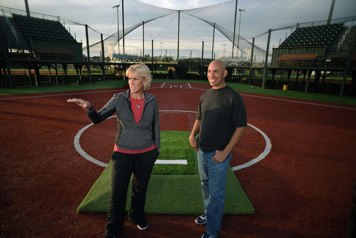 Connie May, director of operations at Scrap Yard Sports complex and scouter for the Scrap Yard Dawgs, and Kevin Shelton, general manager of the team, discuss the construction and plans for the new stadium being built on the 82-acre complex near The Woodlands.