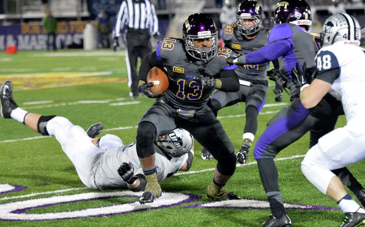 UAlbany's #13 Jamal Merritt intercepts a pass from New Hampshire QB Sean Goldrich during Saturday's game at Casey Stadium Nov. 14, 2015 in Albany, NY. (John Carl D'Annibale / Times Union)