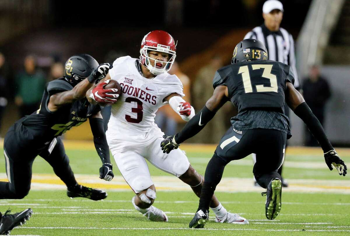 Oklahoma wide receiver Sterling Shepard (3) was drafted by the New York Giants in the second round of last week's draft, exciting quarterback Eli Manning.