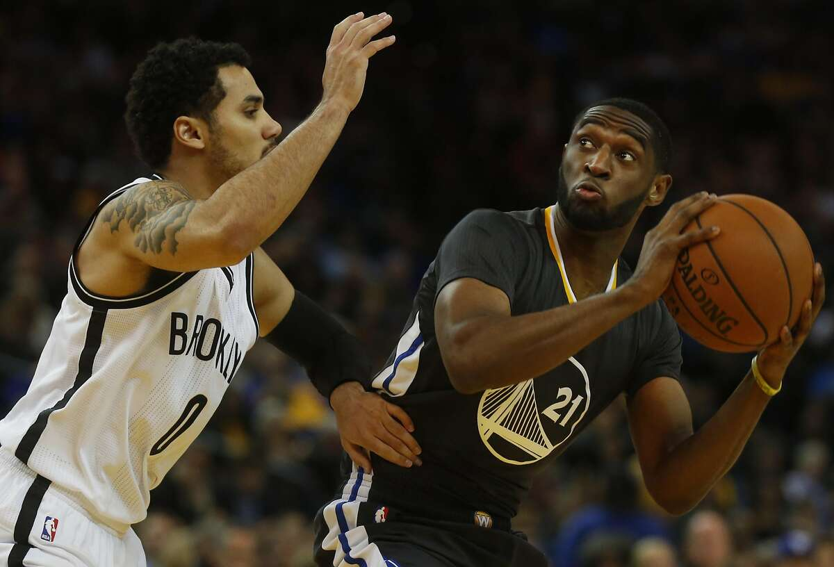 Ian Clark, right, prepares to shoot past Shane Larkin during the Golden State Warriors vs. the Brooklyn Nets game in the Oracle Arena Nov. 14, 2015 in Oakland, Calif. The Warriors won 107-99 in overtime.