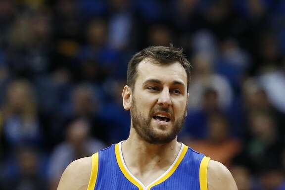 Golden State Warriors' Andrew Bogut of Australia plays against the Minnesota Timberwolves in the second half of an NBA basketball game, Thursday, Nov. 12, 2015, in Minneapolis. (AP Photo/Jim Mone)